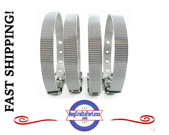 8mm Stainless Steel BRACELET - also fits 8mm Slider Letters and Charms +FREE Shipping & Discounts*