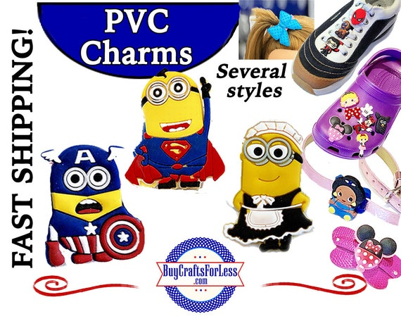 PVC Charms, Minions  * 20% OFF Any 4 PVC Charms * 1.99 Shipping * For Shoes, Hair, Pins-Choose back-Button, Pin, Slider, Hair Clip, Velcro