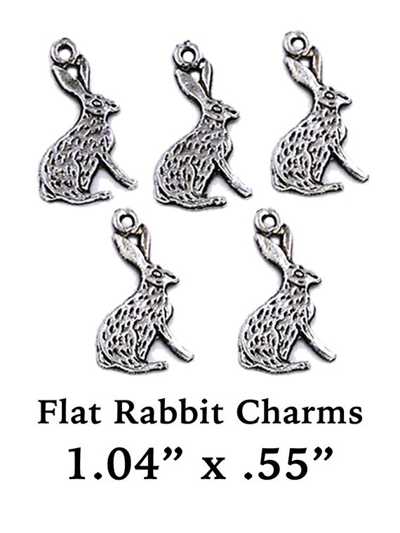 Rabbits, Flat Charms, 5 pcs  **FREE U.S. SHIPPING**