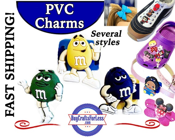 PVC Charms, M&MS * 20% OFF Any 4 PvC Charms * 1.99 Shipping *For Shoes, Hair, Pins-Choose back-Button, Pin, Slider, Hair Clip, Velcro