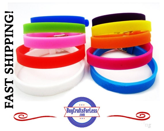 Silicone Bracelets for 8mm Slider Letters /Charms-9 COLORS +99cent Shipping-.49ea addt'l items & DISCOUNTS*