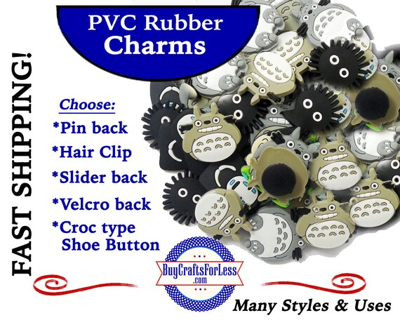 PVC Charms, TOTORO * 20% OFF Any 4 PvC Charms+ShipFREE *Choose back-Button, Pin, Slider, Hair Clip, Velcro, Magnet