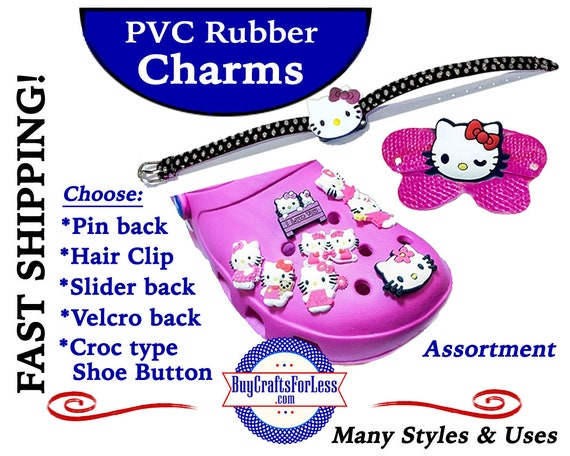 PVC Charms, Hello KITTY, Asst'd * 20% OFF Any 4 PvC Charms+ShipFREE *Choose back-Button, Pin, Slider, Hair Clip, Velcro, Magnet