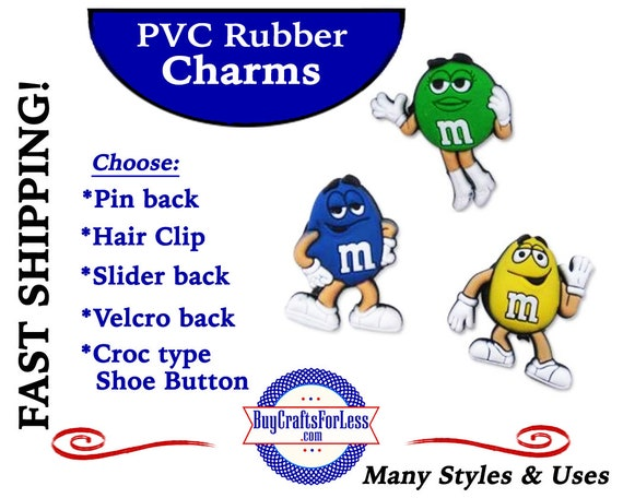 PVC Charms, M&MS * 20% OFF Any 4 PvC Charms+ShipFREE *Choose back-Button, Pin, Slider, Hair Clip, Velcro, Magnet