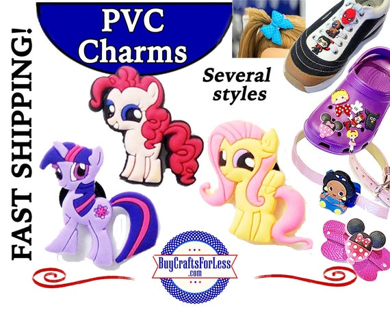 PVC Charms, Lil' Pony,  * 20% OFF 4 * 1.99 Shipping * For Shoes, Hair, Pins-Choose back-Button, Pin, Slider, Hair Clip, Velcro