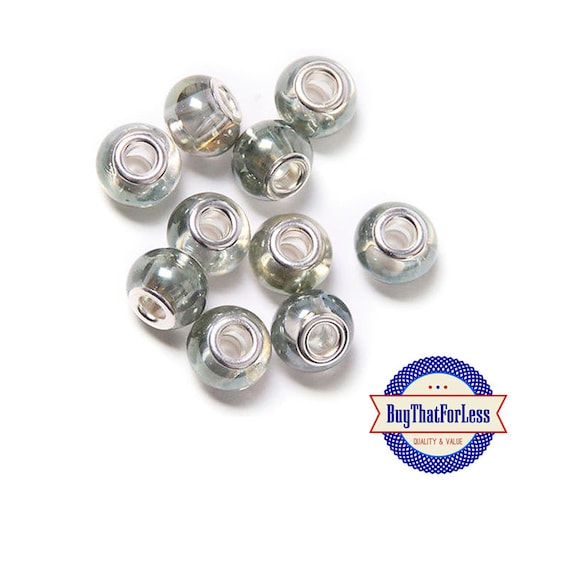 GLASS Beads, SILVER Lustre, 6 pcs  **FREE Shipping with orders 10 dollars+ **