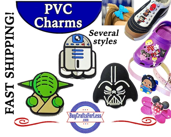 PVC Charms, STAR WARs * 20% OFF Any 4 PvC Charms * 1.99 Shipping *For Shoes, Hair, Pins-Choose back-Button, Pin, Slider, Hair Clip, Velcro