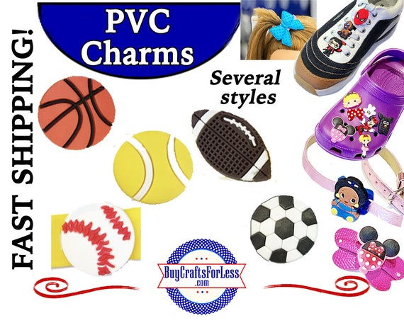 PVC Charms, SPORTS * 20% OFF Any 4 PvC Charms * 1.99 Shipping *For Shoes, Hair, Pins-Choose back-Button, Pin, Slider, Hair Clip, Velcro