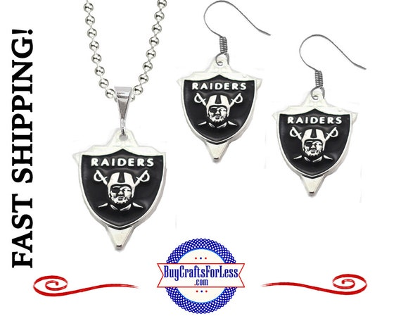 """OAKLAND FooTBALL CHaRM EARRiNGS or PENDaNT with 24"""" Ball Chain - Super NiCE! +FREE SHiPPING & Discounts*"""
