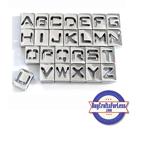 99cent Shipping* ~ HoLLoW Silver Slide 8mm LETTERS Bracelets, Key Rings, Pendants, Pet Collars or Chokers & DISCOUNTS