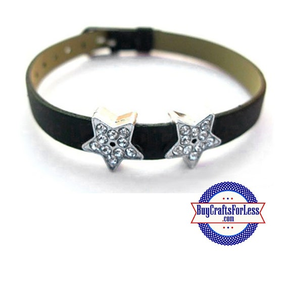 Rhinestone STAR for 8mm Slider Bracelet, Collars, Key Rings, Pendants +FREE Shipping & Discounts*