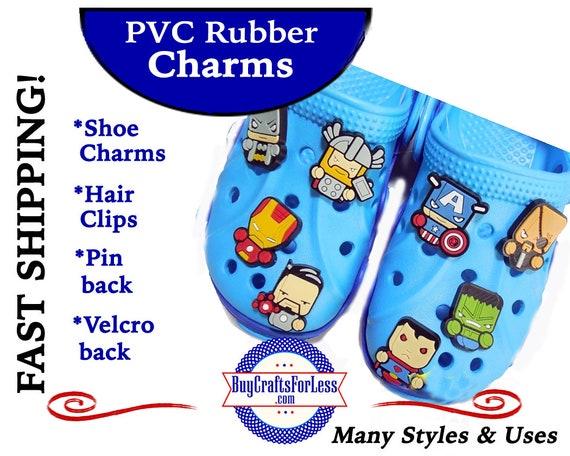 PVC Charms, SUPER HEROs * 20% OFF Any 4 PvC Charms * 1.99 Shipping *For Shoes, Hair, Pins-Choose back-Button, Pin, Slider, Hair Clip, Velcro