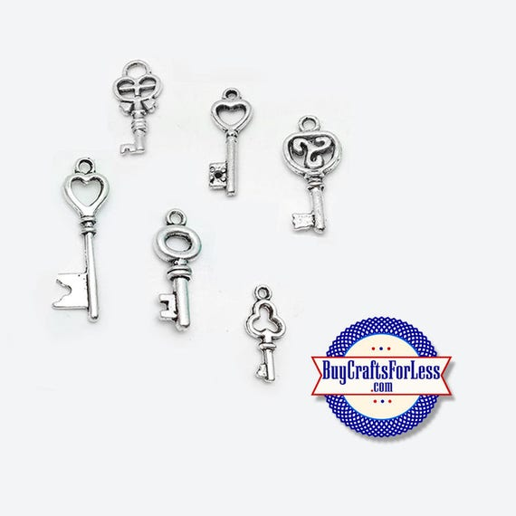 KEY Charms, Silver Alloy, SET of 6 pcs +FREE SHiPPiNG & Discounts**
