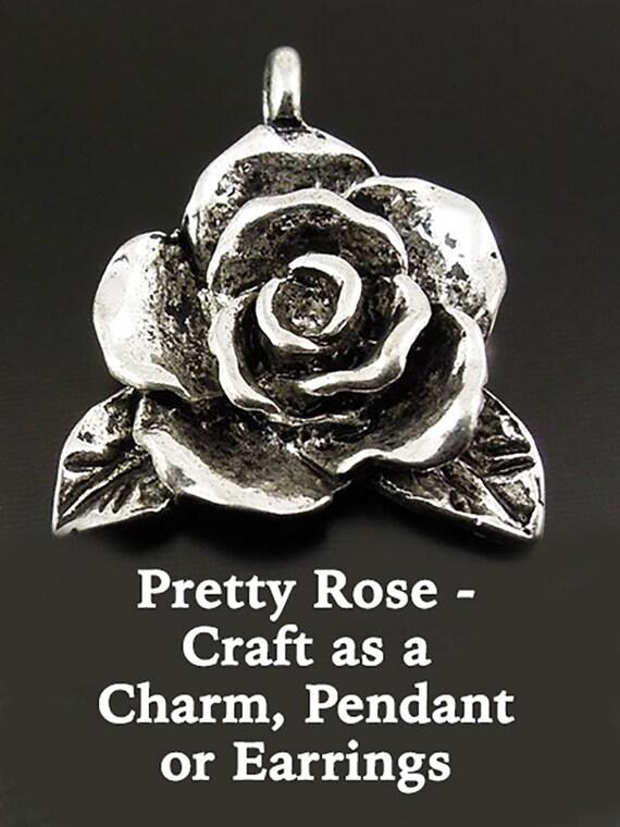 Rose Pendant, alloy 2 pcs  **FREE U.S. SHIPPING**