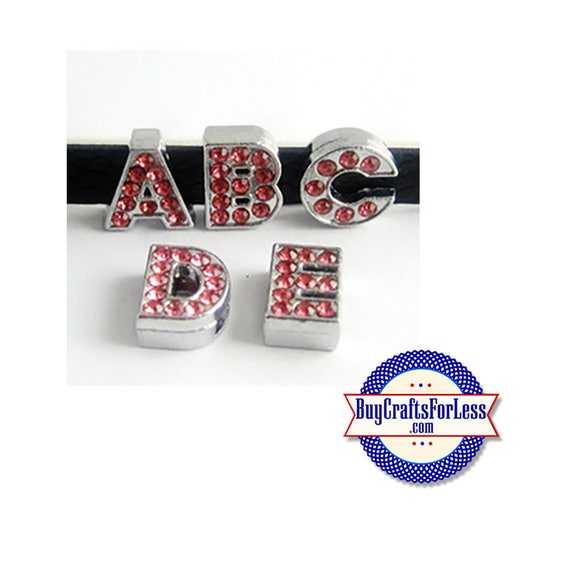 RED Rhinestone Silver Slide LETTERS for 8mm bracelets, chokers, collars, key rings, slider jewelry +FREE Shipping & Discounts*