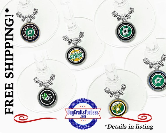 DALLAS Wine or Bottle Charms, Napkin Rings, Set of 6, FREE Gift box +FReE SHiPPING & Discounts*