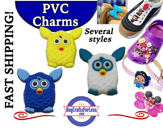 PVC Charms, FURBY * 20% OFF Any 4 PvC Charms * 1.99 Shipping *For Shoes, Hair, Pins-Choose back-Button, Pin, Slider, Hair Clip, Velcro