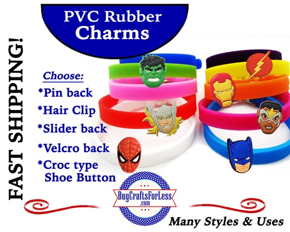 PVC Charms, SUPER HEROs * 20% OFF Any 4 PvC Charms+ShipFREE *Choose back-Button, Pin, Slider, Hair Clip, Velcro, Magnet