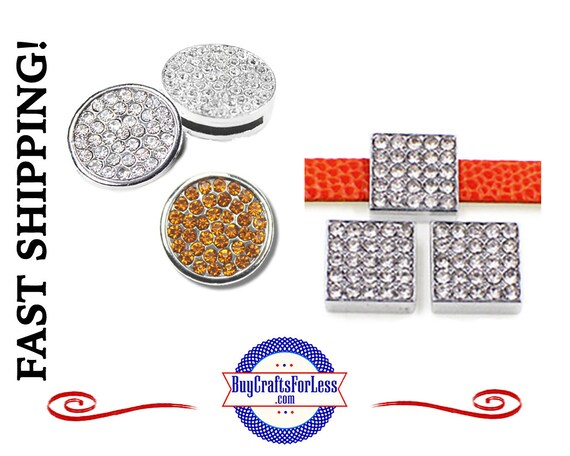 Rhinestone SQUARE or ROUND Slider, Clear or Gold for 8mm slide bracelets, collars, key rings and bracelets  +FREE Shipping & Discounts*