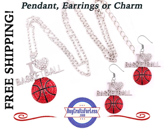 BASKETBALL RHiNESTONE Pendant, Earrings, or Charm - BEAUTiFUL! +FREE Shipping & Discounts*