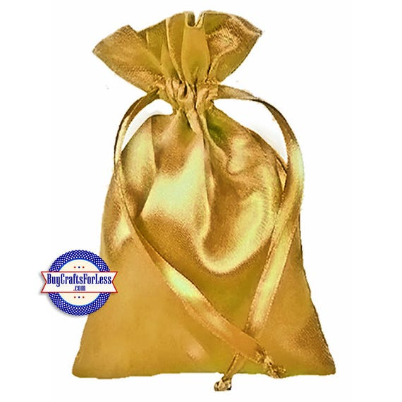 """Solid SATIN Wedding / Party Favor Bag-its, 12 pcs 4 1/2"""" x 7"""", Gold +99cent SHiPPING & Discounts*"""