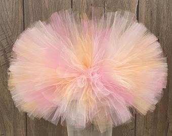Pink and Peach Tutu, Infant Girl Tutu, Ivory Toddler Tutu, Tutu, Birthday Tutu, Halloween Tutu, Pastel Pumpkin Tutu, Rose Mauve Fluffy Tutu