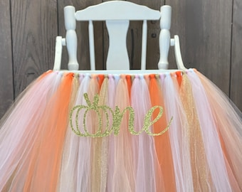My Little Pumpkin High Chair Tutu, ANY COLORS Our Little Perfect Pumpkin High Chair Banner, Girls Fall First Birthday, 1st Smash Cake Party