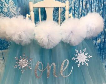 High Chair Tutu, Winter Onederland Birthday, High Chair Banner, Frozen First Birthday High Chair Tutu, Winter First Birthday High Chair Tutu