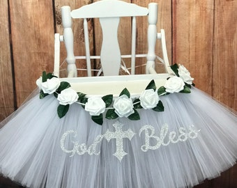 Baptism High Chair Tutu - Christening Baptism Highchair Tutu Skirt - White Baptism Highchair Tutu, Custom Colors or Banner available