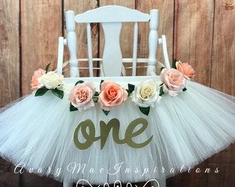 High Chair Tutu, Highchair Banner, Floral First Birthday Chair Skirt, Sweet as a Peach Smash Cake Photo Shoot, Peach, White and Ivory
