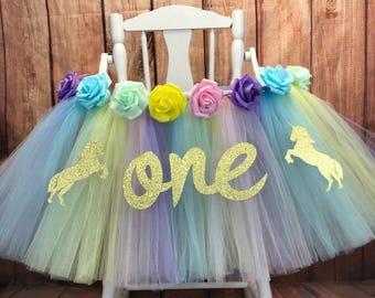 Unicorn High Chair Tutu, Unicorn First Birthday, Unicorn High Chair Banner, Unicorn First Birthday Party, Highchair Tutu, High Chair Shirt,