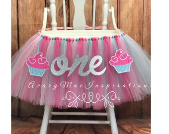 Cupcake High Chair Tutu, HighChair Tutu, Highchair Banner, High Chair Banner, Highchair Skirt, Cupcake First Birthday Party High chair Decor