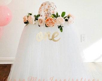 High Chair Skirt, Highchair Tutu, Girls First Birthday High chair Banner, Smash Cake Party Decor, White and Peach Floral 1st Birthday