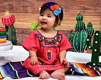 Fiesta Headband, Toddler Headband, First Fiesta Goddess Flower Crown, Shabby Chiffon Girls Side Headband, Baby Birthday Party Hair Bow,