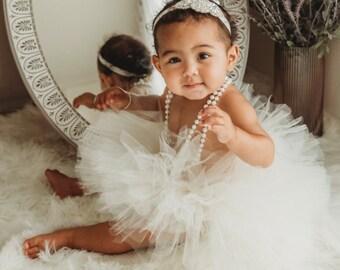 Girls Ivory Tutu, White Birthday Tutu, Toddler and Baby Tutu, 1st Birthday Cream Tutu, Smash Cake Photo, Ballerina Tutu, Ivory Girls Tutu