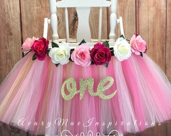 Pink and Gold High Chair Tutu Banner, Highchair Skirt for Girls First Birthday Smash Cake Party Decor, Floral 1st Birthday Party