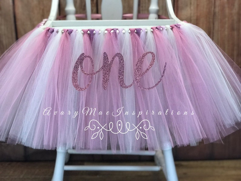 Rose Gold and Pink High Chair Tutu Girls First Birthday image 0