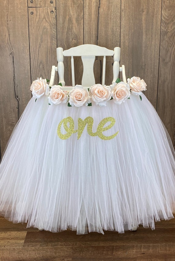 White Tulle /& Floral High Chair Banner