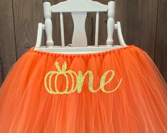 My Little Pumpkin High Chair Tutu, Our Little Perfect Pumpkin Orange High Chair Banner, Girls Fall First Birthday, 1st Smash Cake Party