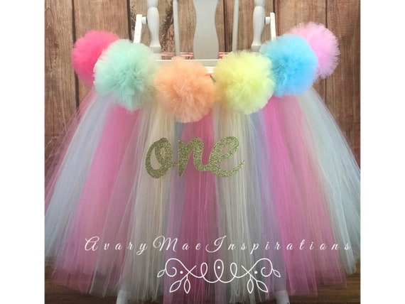 19a7a94b68 High Chair Tutu, Girls First Birthday High Chair Banner, Pastel Pompom  Highchair Tulle Skirt Chair Cover, Smash Cake Party, ANY COLORS