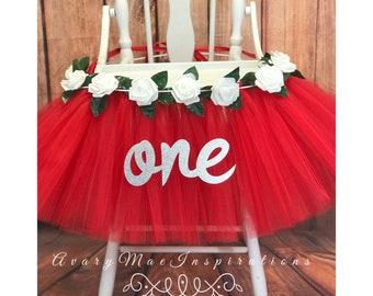 Red and White High Chair Tutu, HighChair Tutu, High chair Banner, Highchair Banner, High Chair Tutu Skirt, Smash Cake Party High Chair