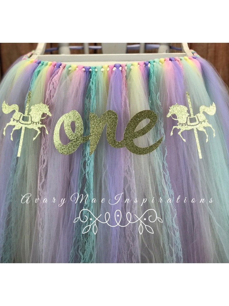 Carnival Horse ANY COLORS Girls First Birthday Carnival Highchair Banner Smash Cake Party Pink Carousel 1st Birthday High Chair Tutu