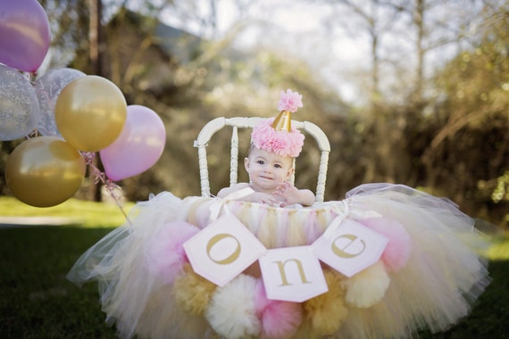First Birthday High Chair Tutu Banner Pink And Gold