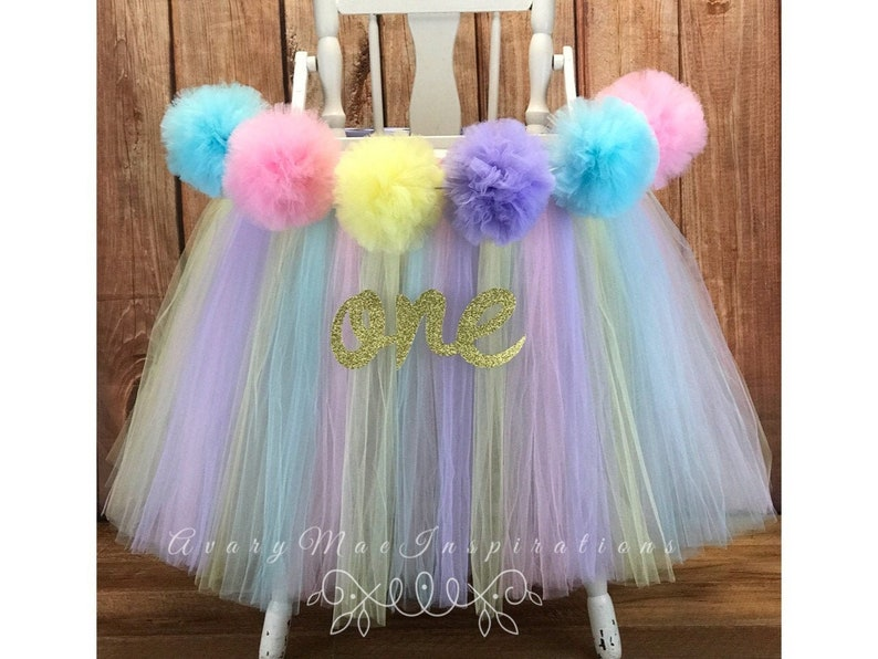 Pastel High Chair Tutu Girls First Birthday Highchair Banner image 0