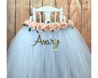 High Chair Tutu- High Chair Skirt- White and Nude Flowers- Baptism Highchair tutu- Wedding Highchair skirt- High Chair Skirt