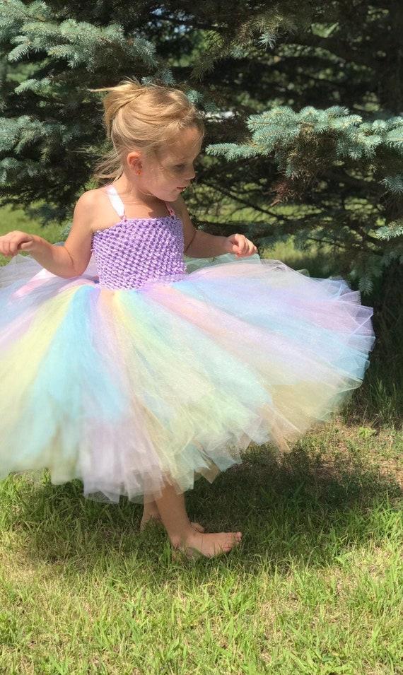 pastel rainbow tutu  tutu birthday outfit  pastel rainbow birthday party tutu  pastel rainbow tutu outfit