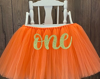High Chair Tutu, Girls 1st Birthday Highchair Banner for Smash Cake Party, Tulle Chair Skirt, Fall Pumpkin First Birthday Party Ideas