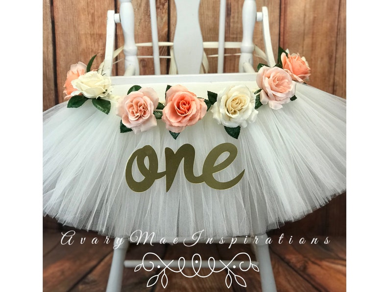 High Chair Tutu High Chair Skirt White and Peach Highchair image 0