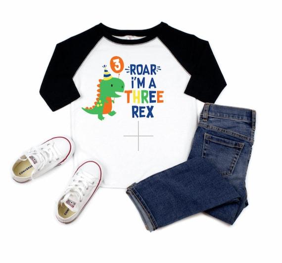 T-REX Dinosaur 3rd Birthday Raglan Tee Three Rex Birthday Shirt Personalized Dinosaur Shirt for Third Birthday | Dino Birthday Party