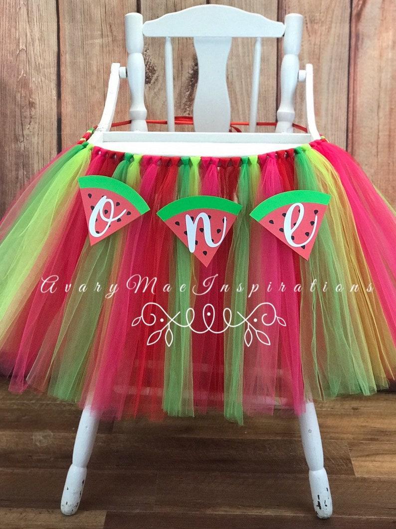 One in a Melon High Chair Tutu Girls First Birthday Highchair image 0